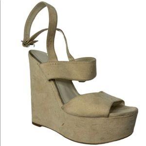Aldo beige suede strappy wedge shoes